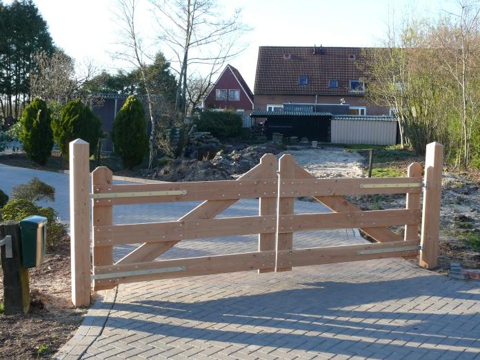 Uitzonderlijk Oprit Poort Hek Lariks Douglas hout 350 cm 4 planken inritpoort @DY99